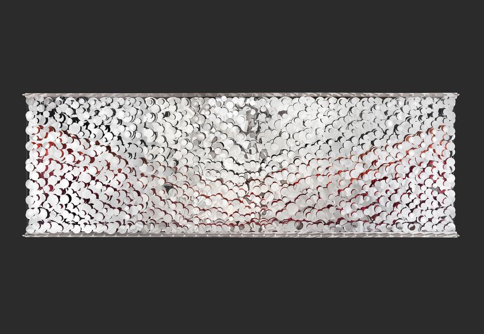 Cecilia Glazman Reflections I 2018 Espejos colores e hilo de acero (Mirrors, colors and steel wire) 450 x 140 cm.
