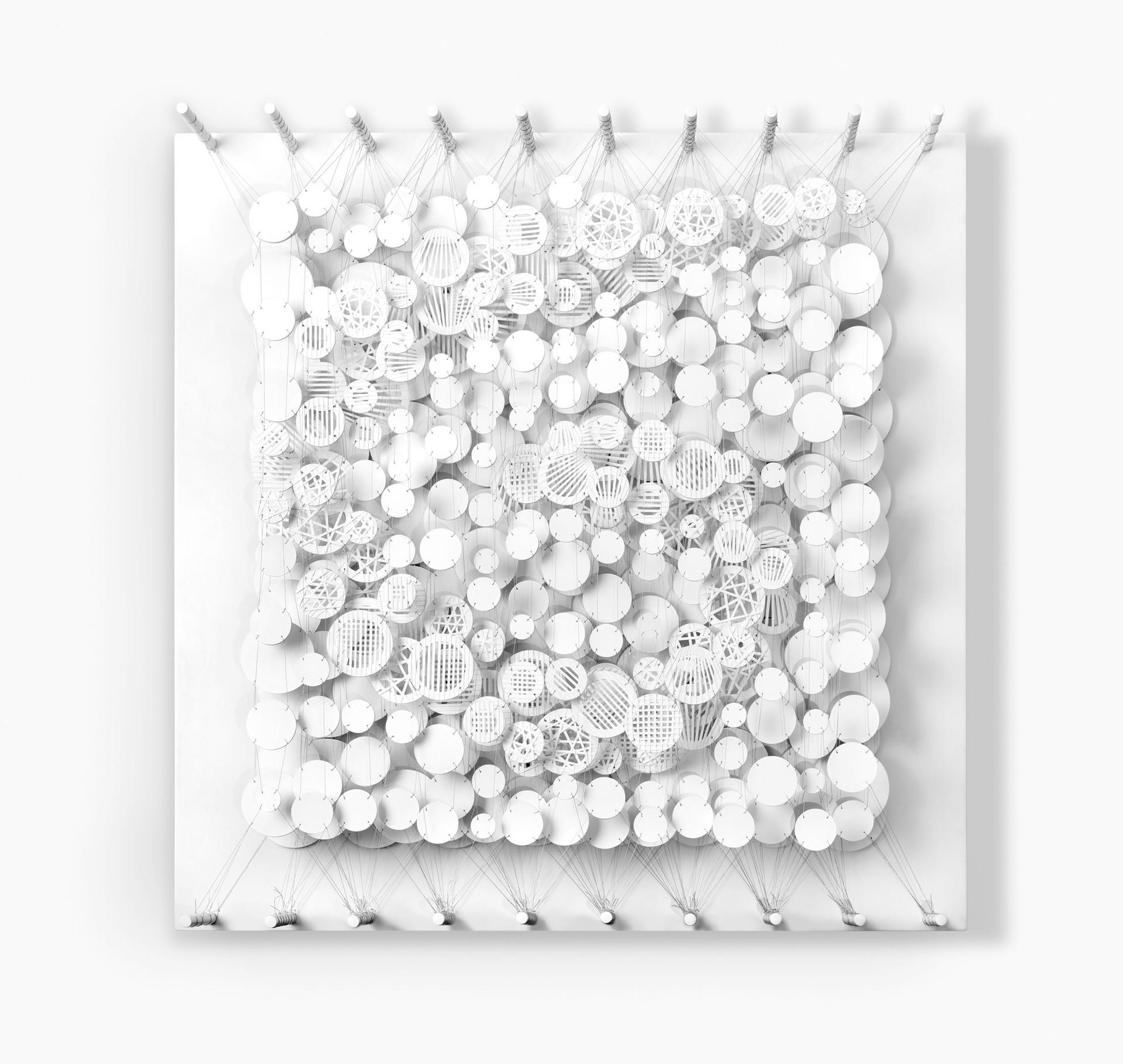 Cecilia Glazman Transparencia 2016 Papel pintado y recortado a mano, madera e hilos (Hand painted papercuts and wood, thread) 100 x 100 cm.