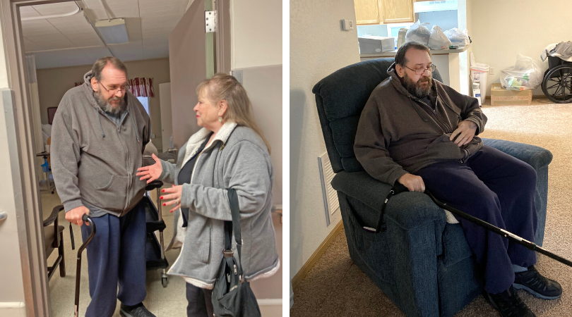 Photos of Mike and Kathy at the nursing facility and Mike sitting in his recliner in his new apartment