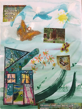 Picture of an abstract painting of a house and landscape