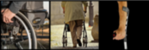 Collage of a wheelchair, person using a walker, and an arm crutch