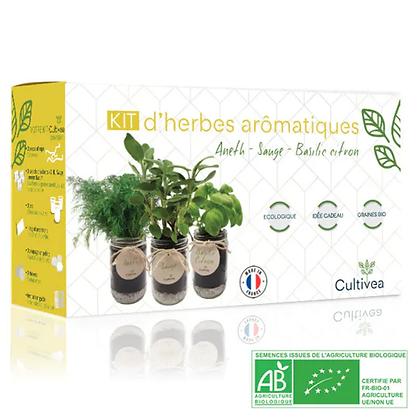 Kit Prêt À Pousser D'herbes Aromatiques Bio* (Sauge, Basilic Citron, Aneth)