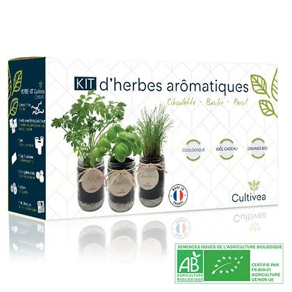 Kit Prêt À Pousser D'herbes Aromatiques Bio* (Basilic, Persil, Ciboulette)
