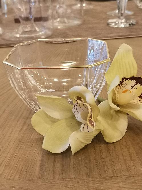 Coppetta in vetro con filo oro o argento