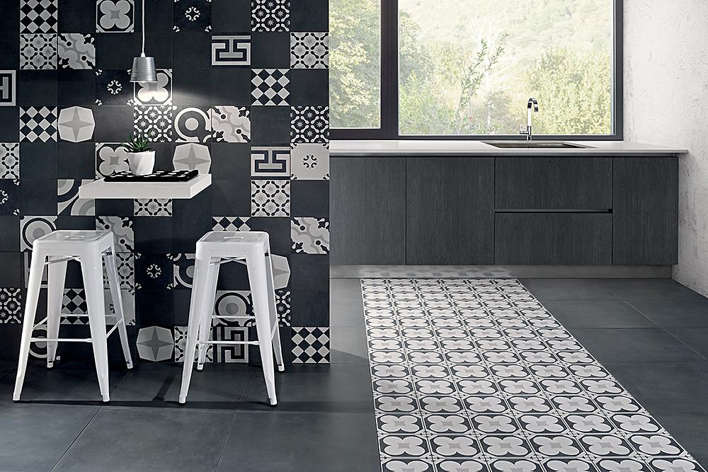 Un decoro ispirato alle cementine prodotto dall'azienda La Fioranese