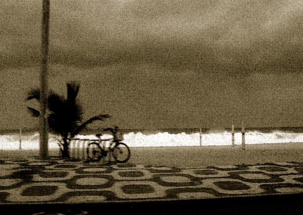 Stormy day on Copacabana beach