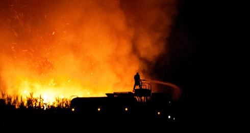 Sugarcane field on Fire, Brazil