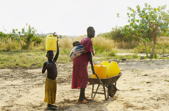 Bringing pumped water to the village, Soldiers at Payii Bridge opening, (South Sudan)