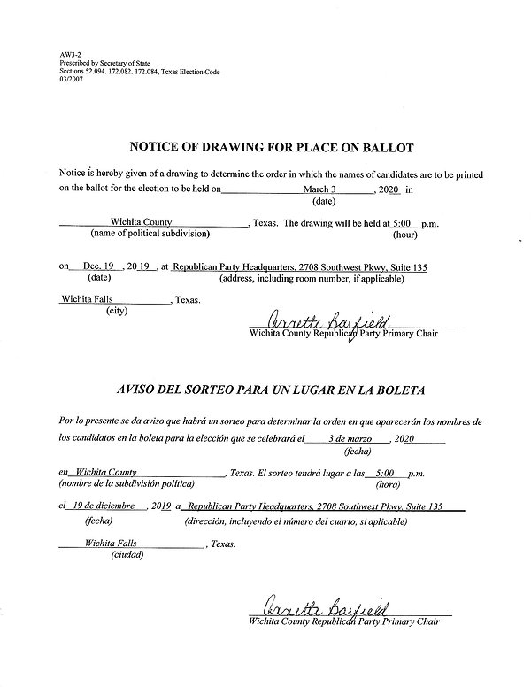 4-Notice of Drawing for Place on Ballot.