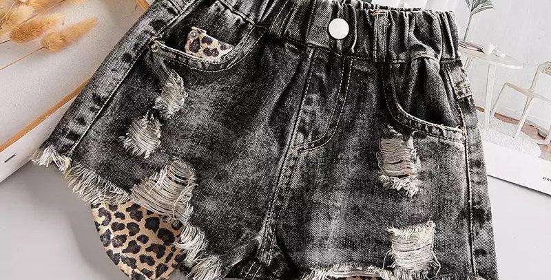 Distressed Youth Denim  Leopard pocket shorts