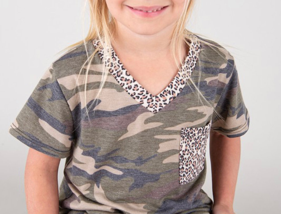 Camo with Leopard collar and pocket kids top