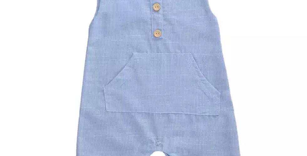 Pocket front stripe romper