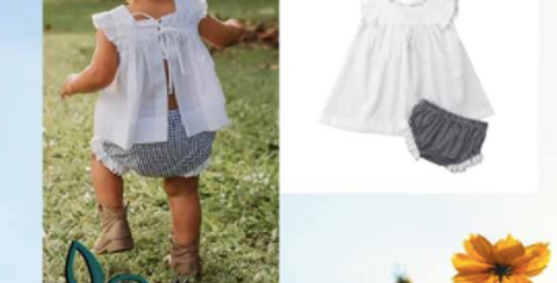 2 Pc cotton tie white top with navy gingham bloomers