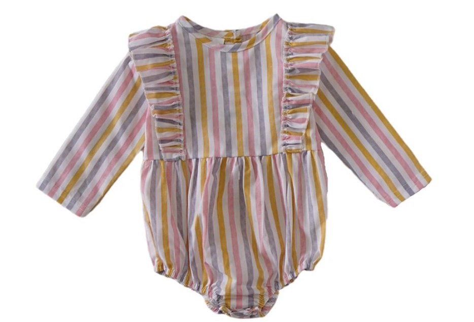 Rainbow Stripe Long sleeve Bubble Romper