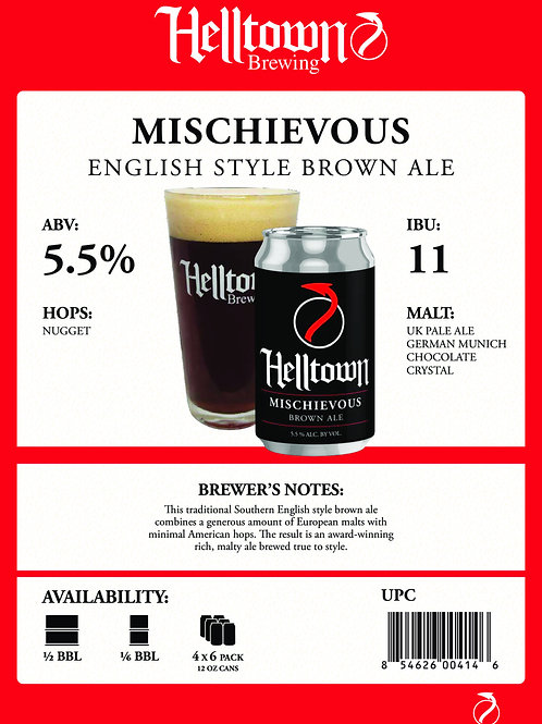 Helltown Mischievous Brown Ale 6 Pack 12 oz Cans