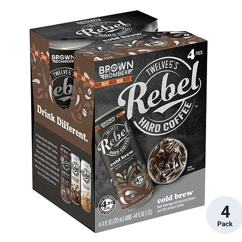 Brown Bomber Rebel Cold Brew Hard Coffee 4 Pack 12 oz Cans
