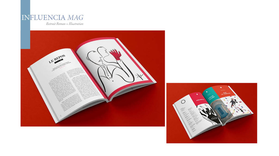 Illustration et extrait de roman pour Influencia mag