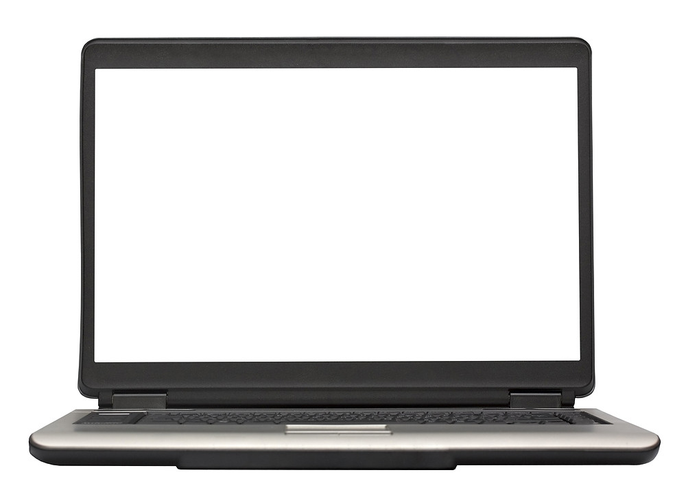 A blank screen on a laptop computer.