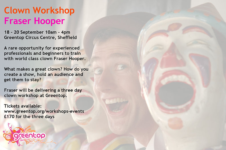 Fraser Hooer Clown workshop poster