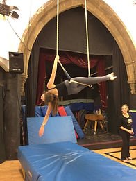 Girl on a trapeze - circus
