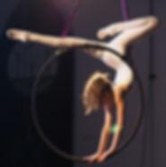 Circus girl in an aerial hoop