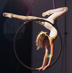 Circus girl in an aerial hoop