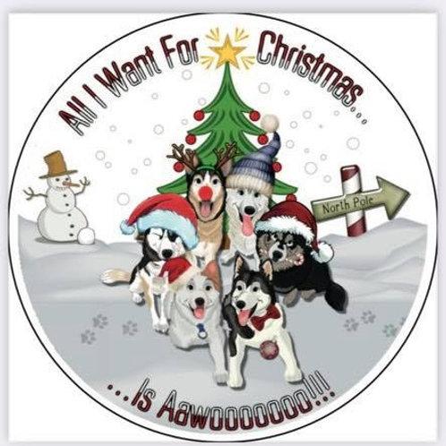 SSDR Christmas Mascot Car Sticker - White
