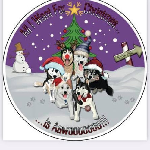 SSDR Christmas Mascot Car Sticker - Purple