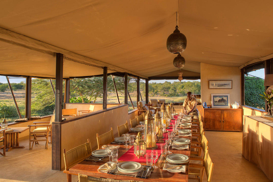 Ol Pejeta Bush Camp Mess tent dining