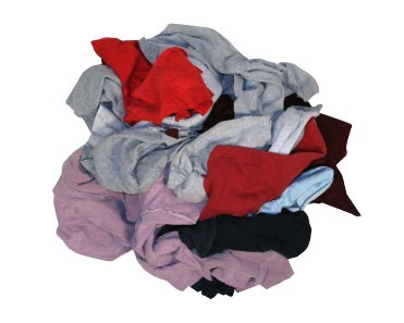 Colored Reclaimed Sweat Shirt Rags - 25Lb Poly Bag