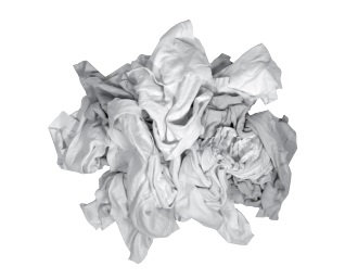White Reclaimed T-Shirt Rags - 25Lb Compressed Bag