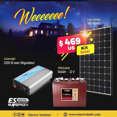 Trojan Battery 12V- Giandel Inverter  1200W-Solar Panel  190W