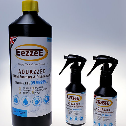 EezzeE Aquazzee HOCI Hand Sanitiser Refill Set (1 x 1Ltr Plus 2 x 100ml)