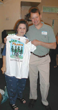 All guests got a free club t-shirt. Tony brought his mother in hopes that certain members would refrain from their usual heckling.