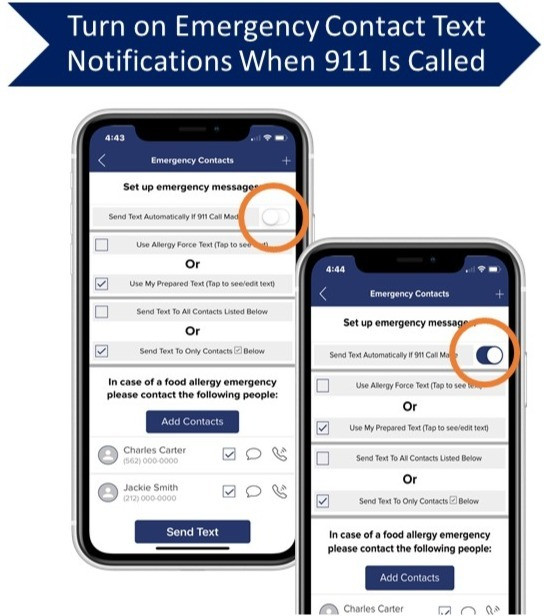 screenshots-allergy-force-app-show-text-notification-toggles-to-send-text-to-emergency-contacts-when-911-call-made