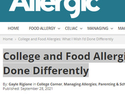 Allergic Living Article on College & Food Allergies