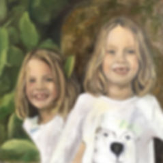 Portriat of the twins Caitlin and Sophie in oil on canvas