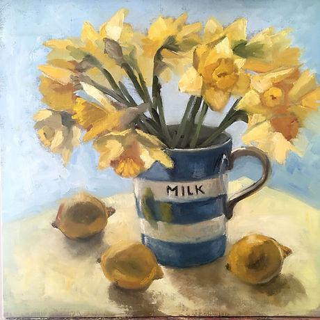 Daffodils, Lemons and Cornish Milk Jug.j