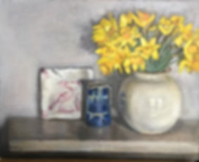 Finished these daffodils, jug and tile o