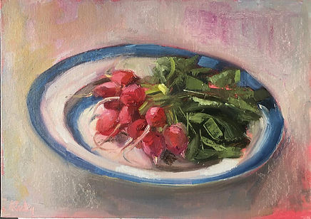 Suffolk Radishes, radishes, pink, veggie, vegetables, cornishware plate, cornishware blue, cornishware