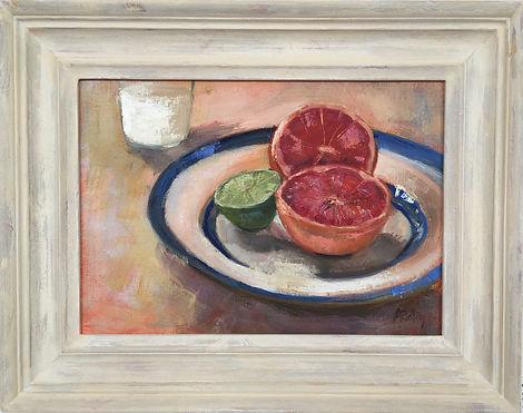 Morning Grapefruit, lime, grapefruit, cornishware place, still life, breakfast, milk, morning