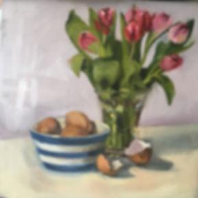 Tulips and eggs in cornishware bowl.JPG