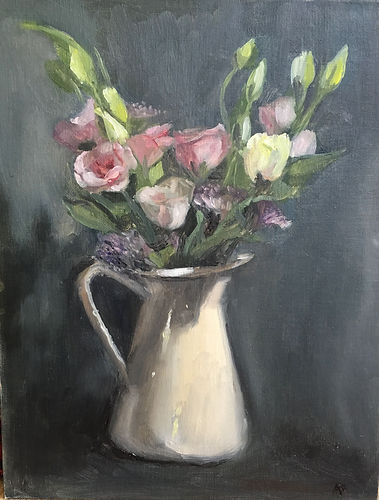 Bunch of Spring flowers in a whit jug