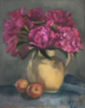 Dark pink Peonies in a cream jug and some apples