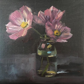 Cosmos, summer flowers, glass bottle, oil on linen, alla prima, study from life