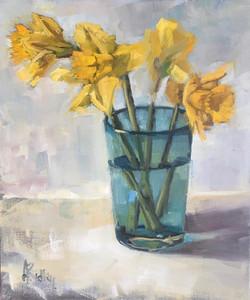 Daffodils in glass