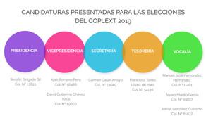 Candidaturas presentadas para las elecciones a la Junta de Gobierno del COPLEXT