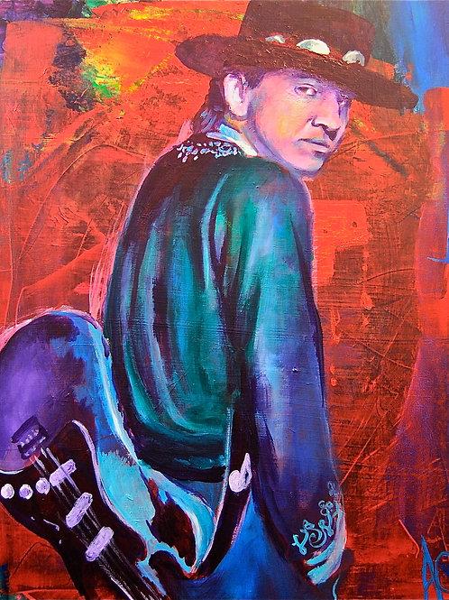 "Stevie Ray Vaughan 12""x18"" Poster Print"