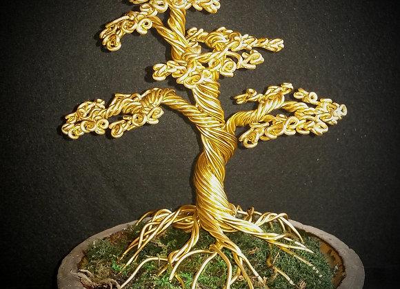 #76 Golden Bonsai Wire Tree Sculpture