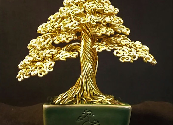 Wire Tree Sculpture In Gold #191by Rick Skursky